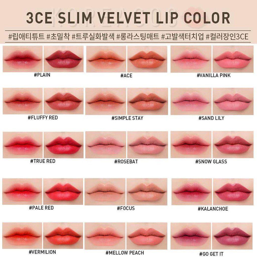 Bảng màu 3CE Slim Velvet Lip Color