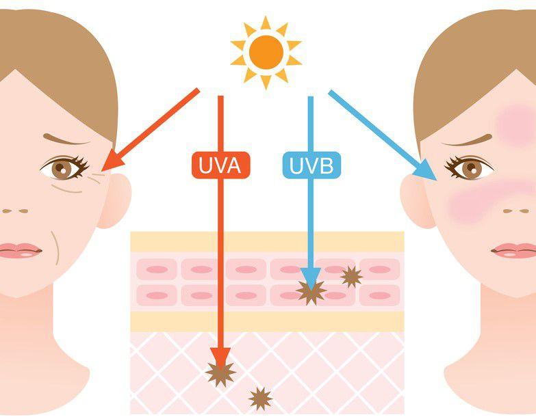 Các tia UVA UVB từ ánh nắng mặt trời sẽ gây hại tiêu cực cho da