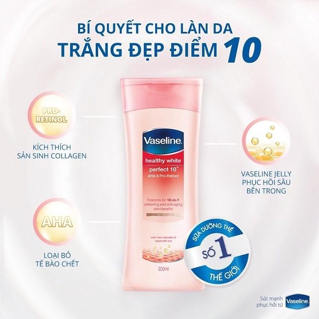 Vaseline Healthy White Perfect 10 nuoi duong lan da trang dep diem 10