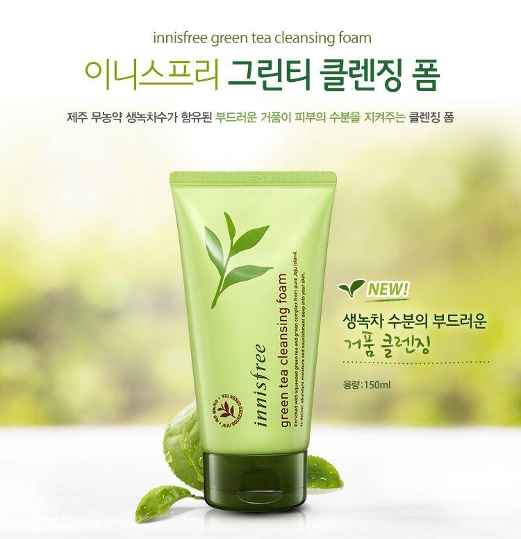 Sữa rửa mặt cho da dầu tinh chất trà xanh Innisfree Green Tea Cleansing Foam