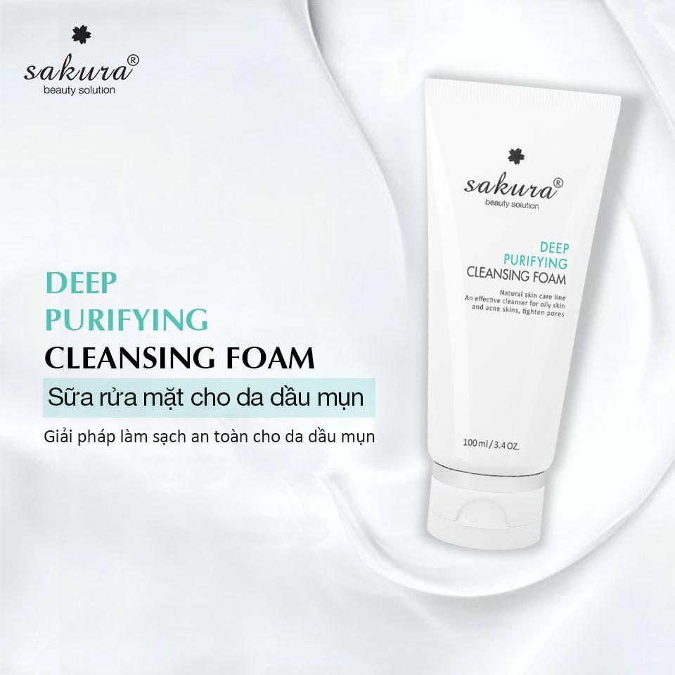 Sữa rửa mặt dành cho da dầu mụn Sakura Deep Purifying Cleansing Foam