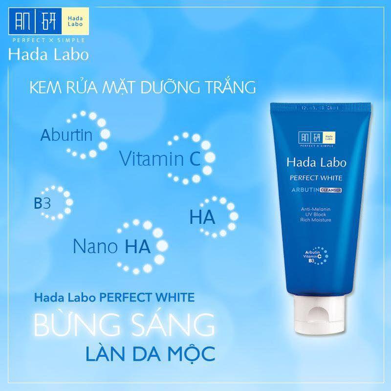 Sữa rửa mặt Hada Labo Nhật Perfect White Arbutin Cleanser màu xanh có tốt không?
