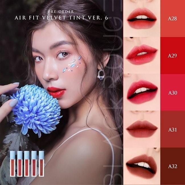5 màu son trong bộ sưu tập Black Rouge Ver 6 Airfit Velvet Tint