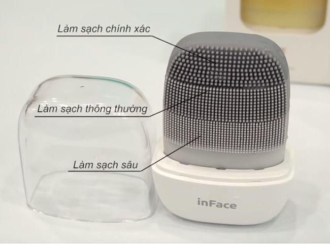 Đầu gai silicon của máy rửa mặt Xiaomi inFace MS2000 chia thành 3 vùng chuyên biệt