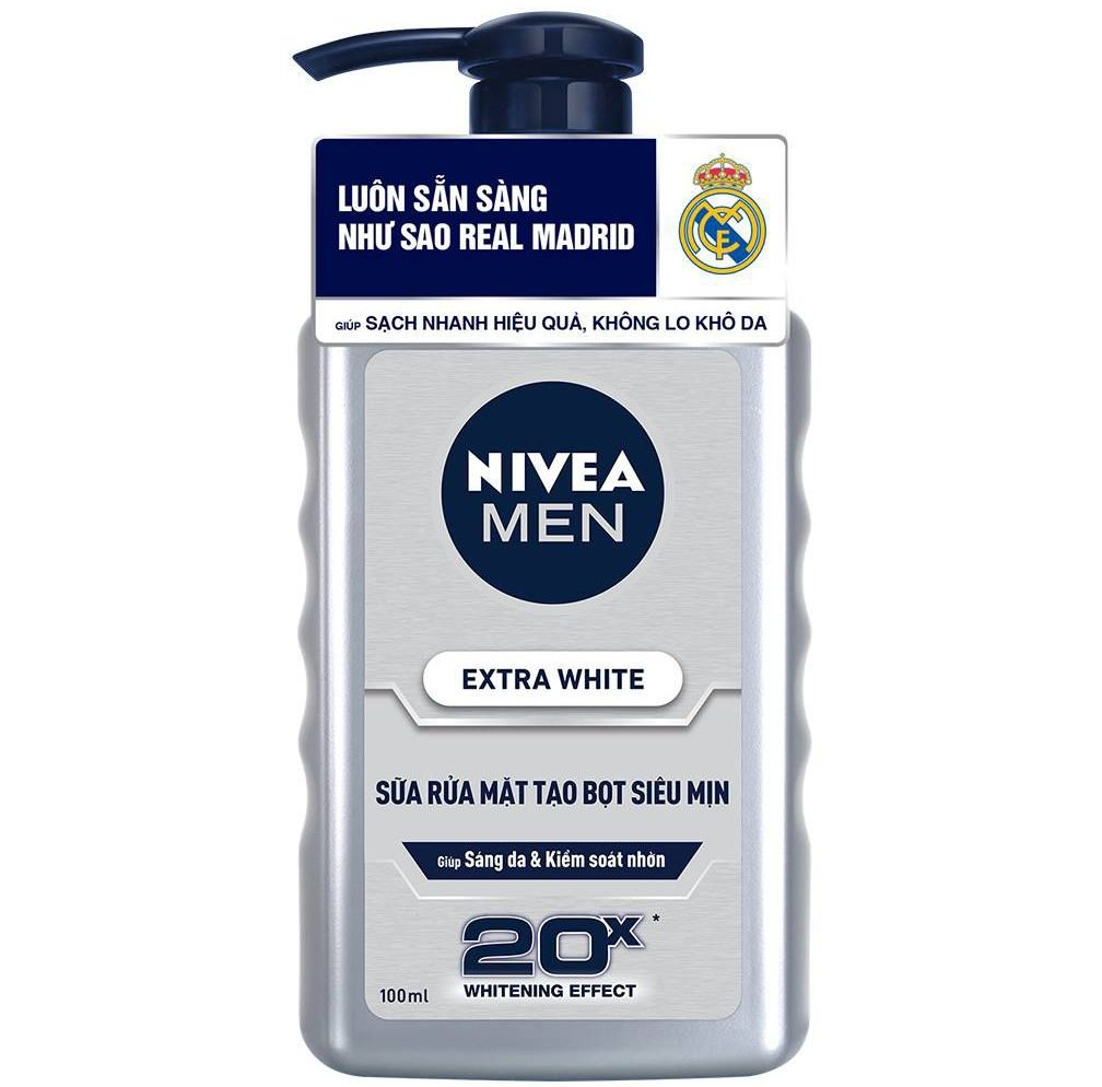 Sữa rửa mặt trắng da cho nam Nivea Men Extra White 2