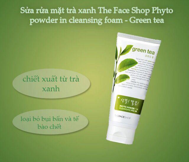 Sữa rửa mặt trà xanh The Face Shop Phyto Powder in Cleasing Foam Green Tea Hàn