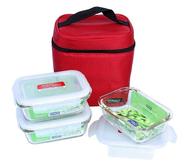 Bộ túi hộp đựng cơm thủy tinh chịu nhiệt Lock&Lock LLG422S4DR