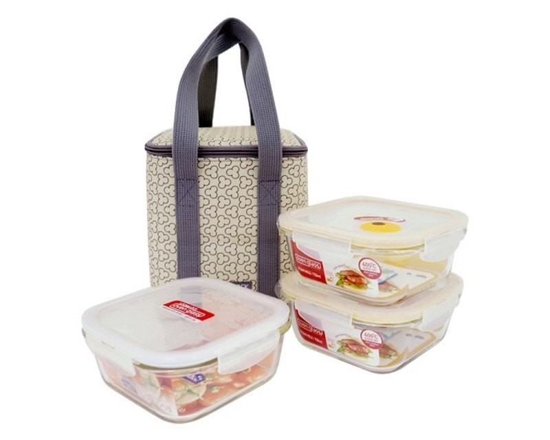 Bộ túi hộp đựng cơm giữ nhiệt thủy tinh Lock&Lock LLG224TI3