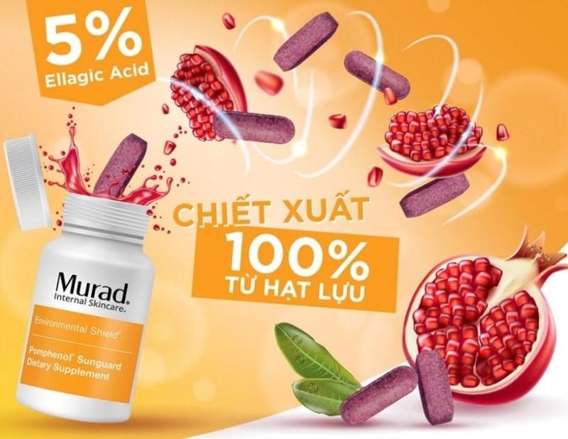 Viên uống chống nắng Murad có hiệu quả cao nhờ chiết xuất 100% từ hạt lựu