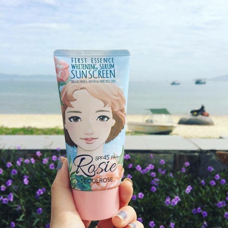 Kem chống nắng vật lý Rosie SEOULROSE First Essence Whitening Serum Sunscreen SPF45/PA++