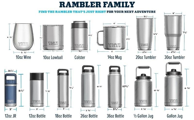 Trọn bộ sưu tập YETI Rambler với đủ các loại dung tích