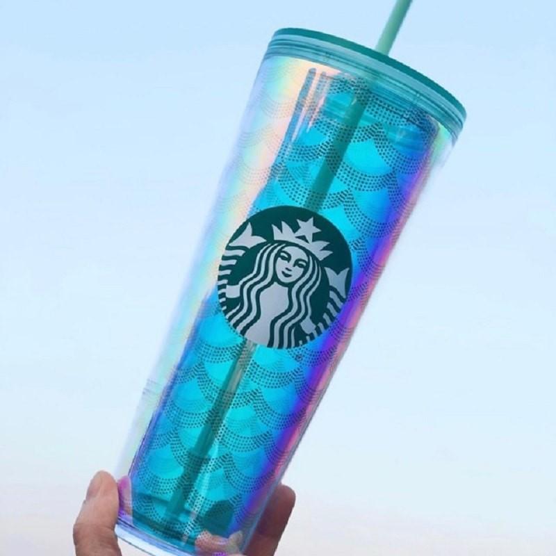 Ly nhựa giữ nhiệt Starbucks Coldcup size Venti - mùa hè USA bản vây cá 710ml