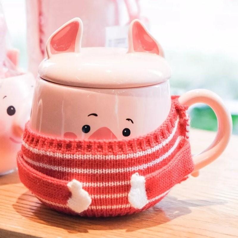 Ly sứ giữ nhiệt Starbucks Piggy Mug có áo len