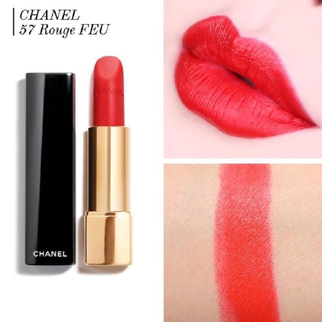Sắc đỏ cam Chanel 57 Rouge Feu Rouge Allure Velvet