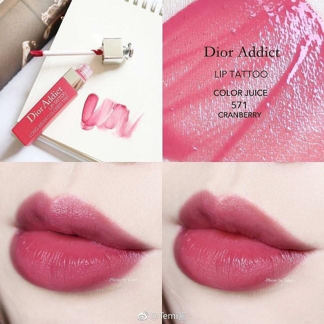 Son Dior Tattoo 571 Addict Lip Cranberry màu đỏ trầm pha hồng lên môi siêu tây