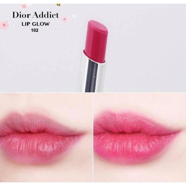 Sắc son Dior Addict Lip Glow 102 Matte Raspberry màu đỏ dâu ngọt ngào
