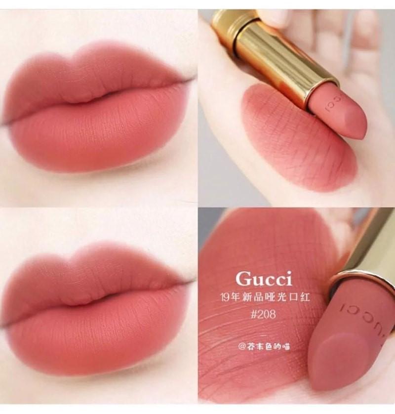 son high end Gucci Rouge À Lèvres Matte 208: Tông cam đất hot trend phù hợp với mọi tông da