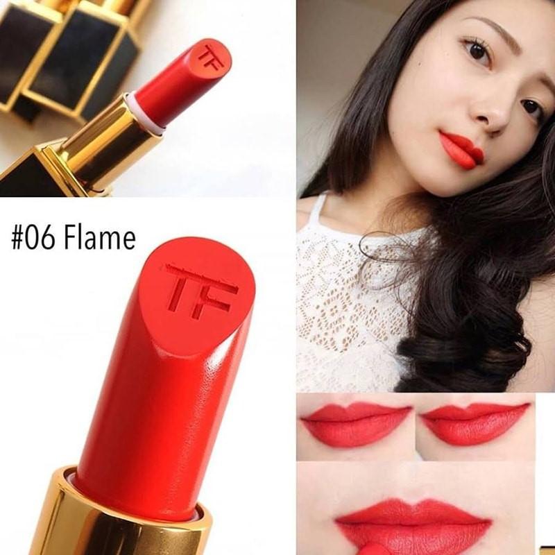 Son high end Tom Ford Flame 06: Màu son đỏ cam hấp dẫn và ngọt ngào