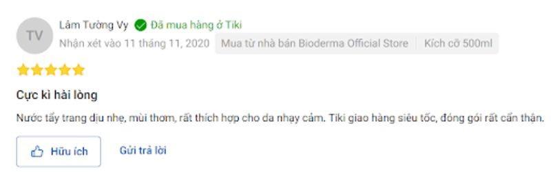đánh giá của người dùng về nước tẩy trang Bioderma trên Shopee và Tiki 8