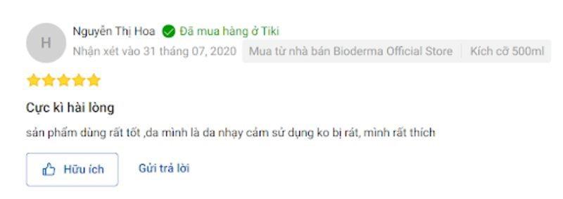 đánh giá của người dùng về nước tẩy trang Bioderma trên Shopee và Tiki 9