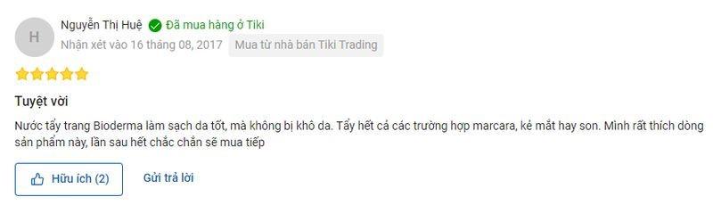 đánh giá của người dùng về nước tẩy trang Bioderma trên Shopee và Tiki 3
