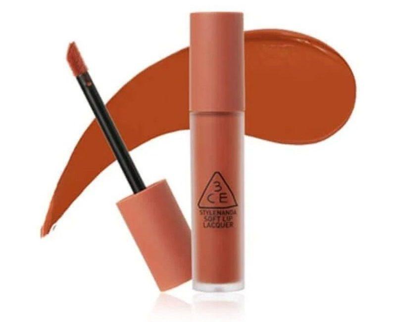 Son kem 3CE Soft Lip Lacquer Tawny Red (màu cam cháy)