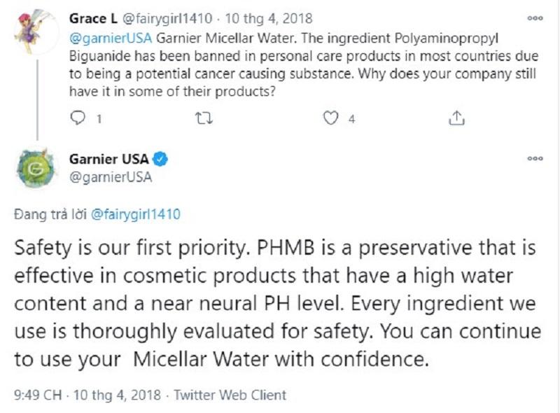 Thành phần PHMB trong nước tẩy trang Garnier