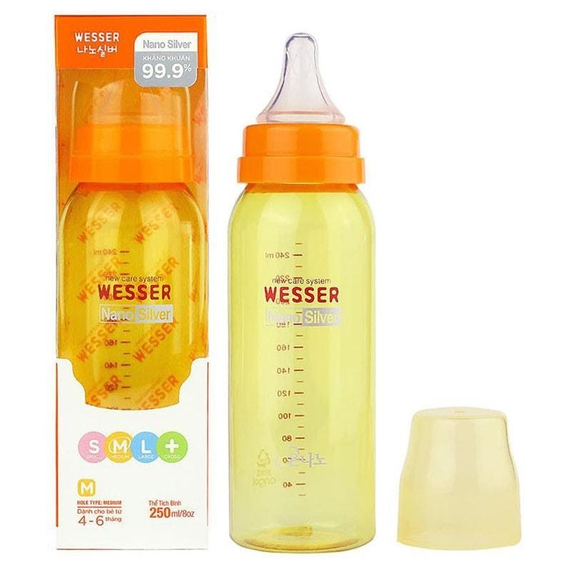 Bình sữa cho bé Wesser Nano Silver cổ hẹp 250ml