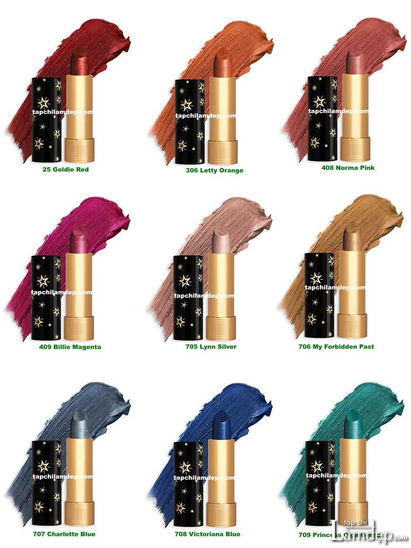 Bảng màu son Gucci Rouge à Lèvres Gothique Metallic Lipstick