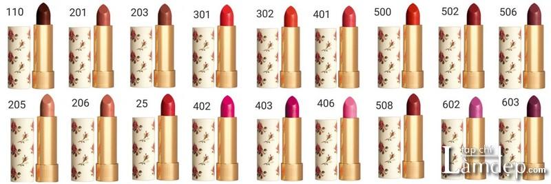 Bảng màu son Gucci Rouge à Lèvres Voile Lipstick