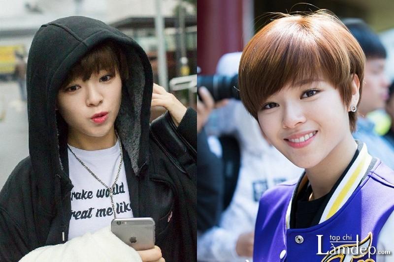 Tóc tomboy phong cách sao Hàn Quốc Jeongyeon của TWICE