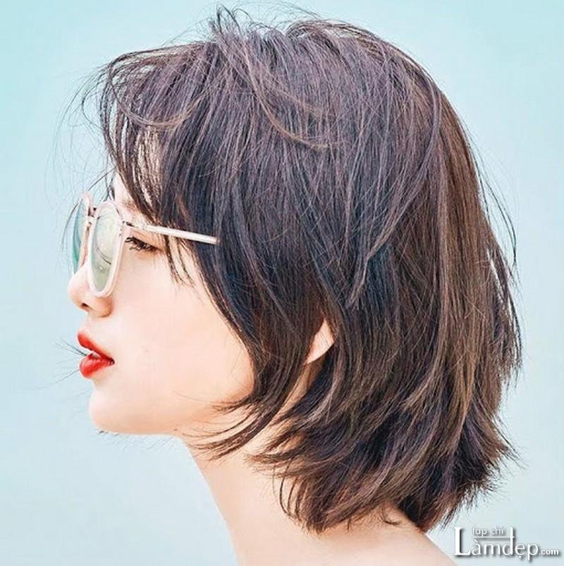 Kiểu tóc Mullet Layer ngắn mái bay cho nữ