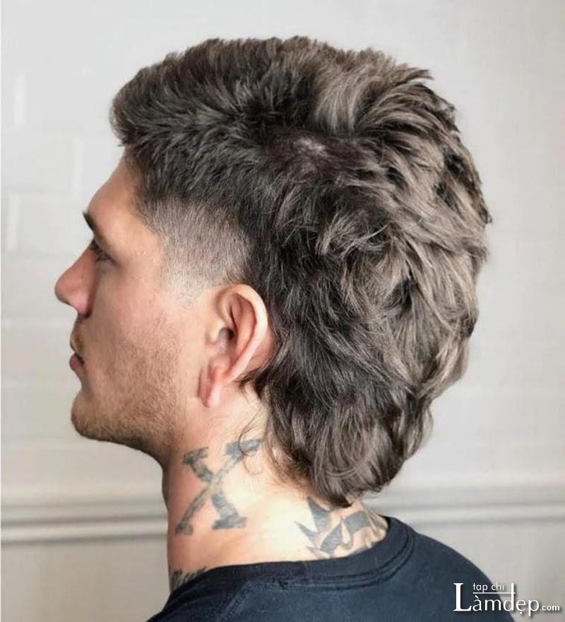 Kiểu tóc Mullet Layer uốn xoăn mái ngắn cho nam