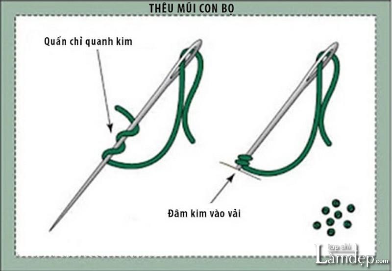 Cách thêu French-knot (mũi con bọ)