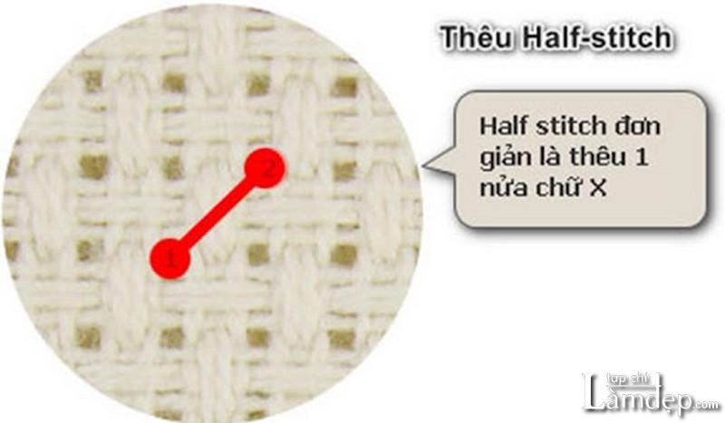 Cách thêu half stitch (1/2 mũi)