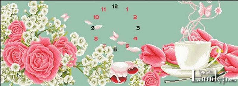 Tranh đính đá đồng hồ hoa hồng