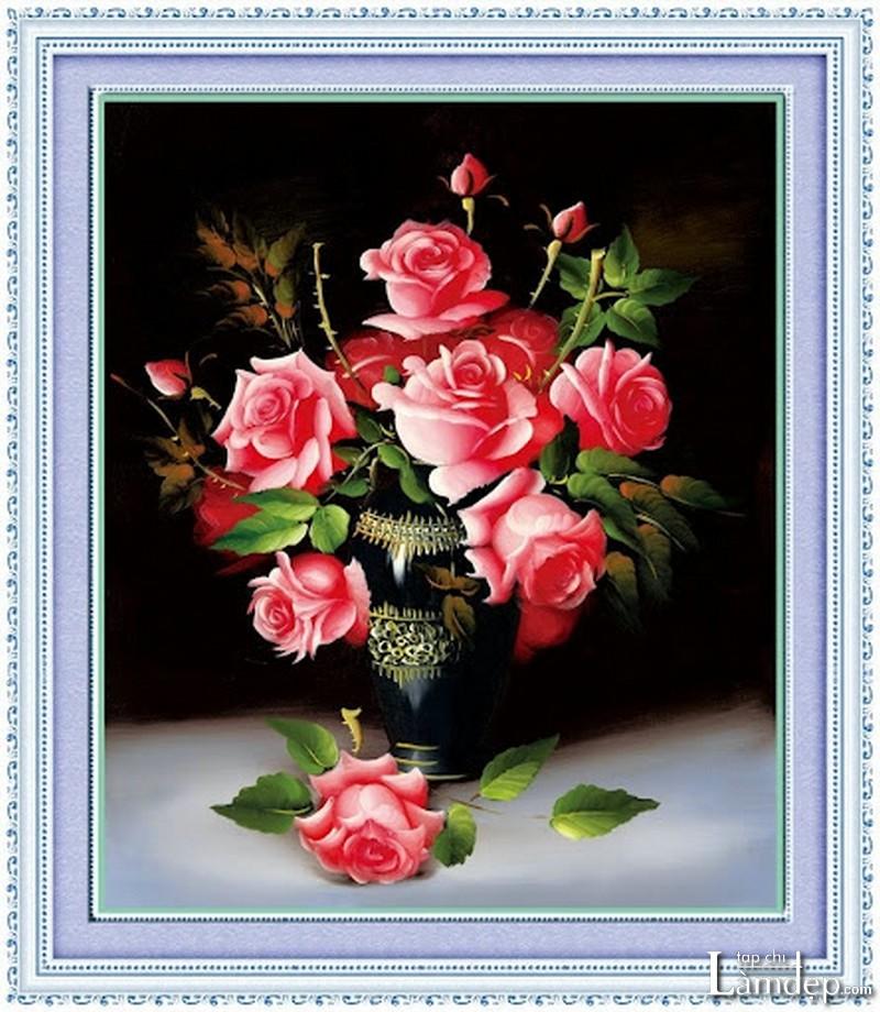 Tranh đính đá hoa hồng