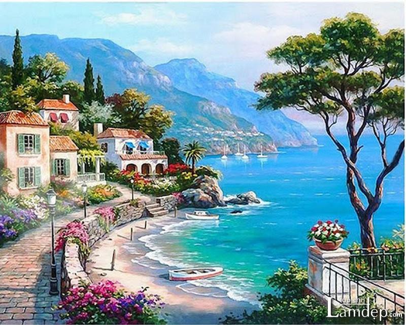 Tranh đính đá phong cảnh biển