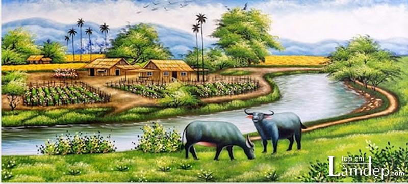 Tranh đính đá phong cảnh đồng quê Việt Nam