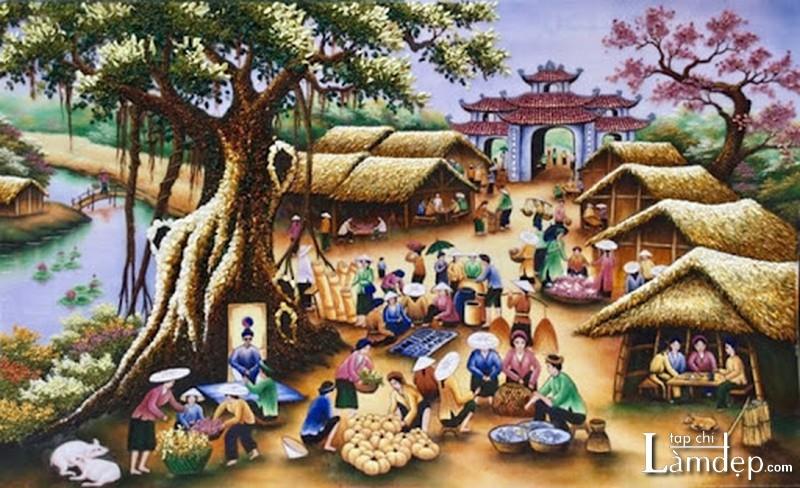 Tranh đính đá phong cảnh làng quê Việt Nam