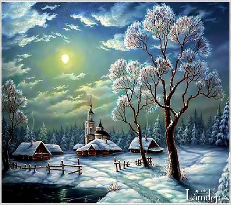 Tranh đính đá phong cảnh mùa đông