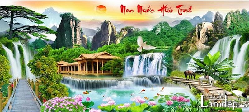 Tranh đính đá phong cảnh non nước hữu tình
