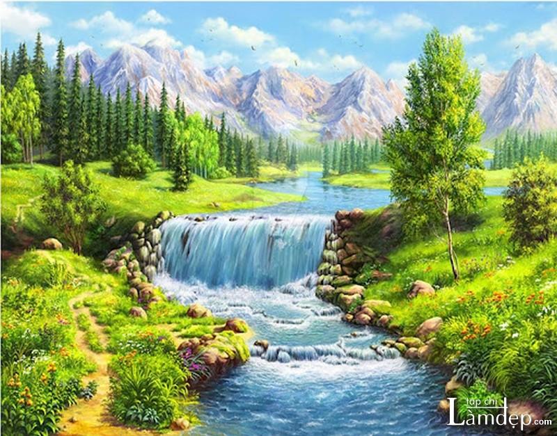 Tranh đính đá phong cảnh thiên nhiên