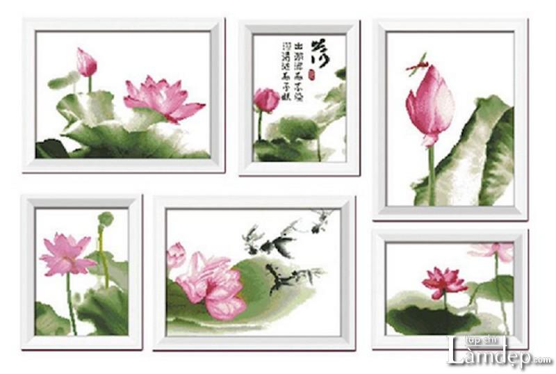 Tranh thêu chữ thập hoa sen