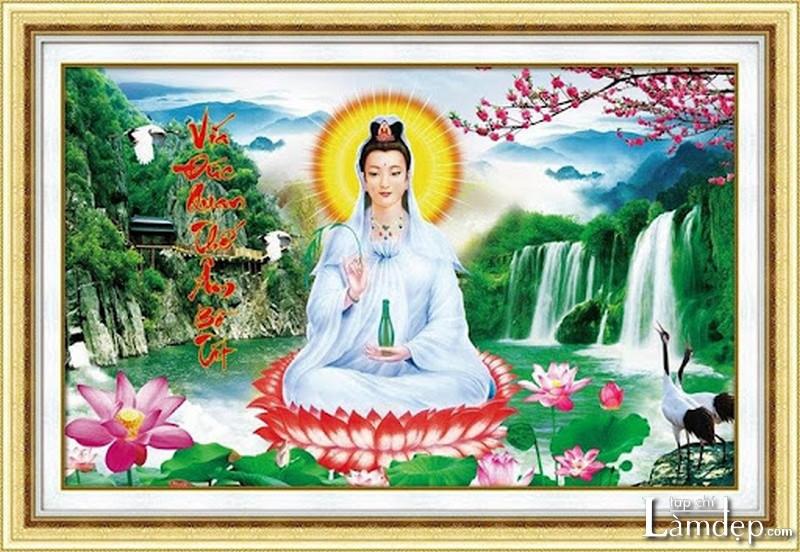 Tranh thêu chữ thập Phật Quan Âm