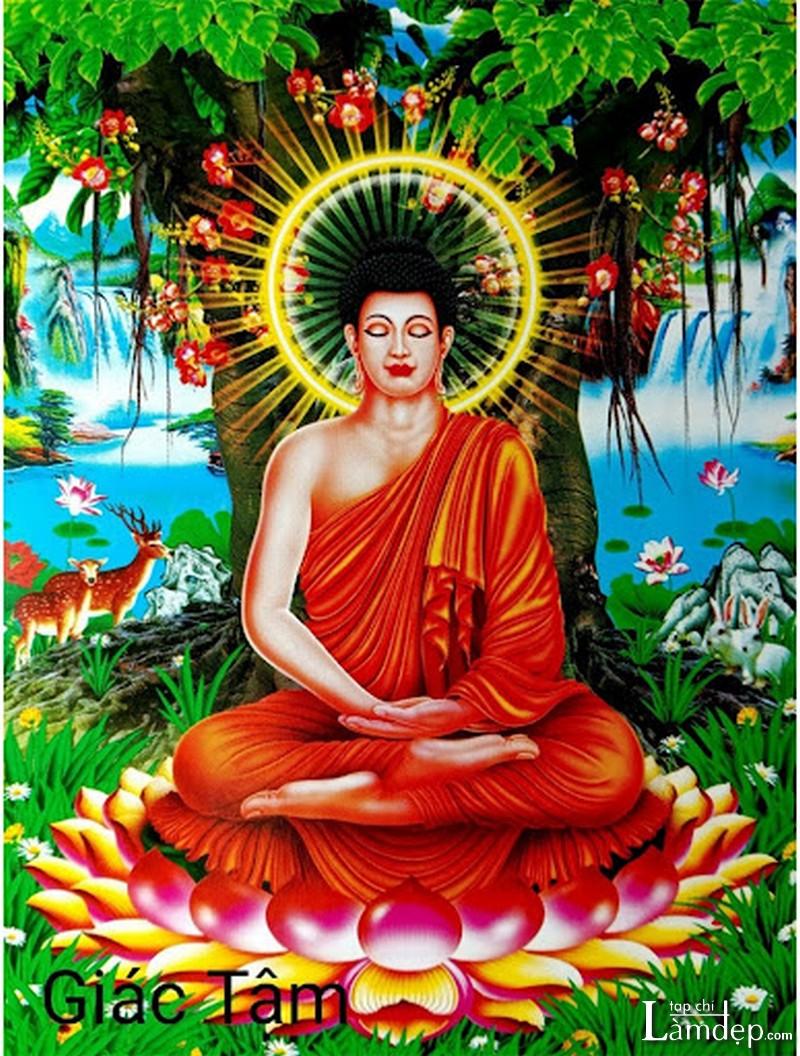 Tranh thêu chữ thập Phật Thích Ca Mâu Ni