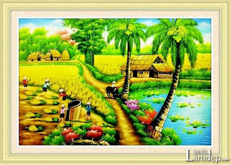 Tranh thêu chữ thập phong cảnh làng quê Việt Nam