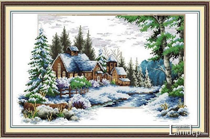 Tranh thêu chữ thập phong cảnh mùa đông