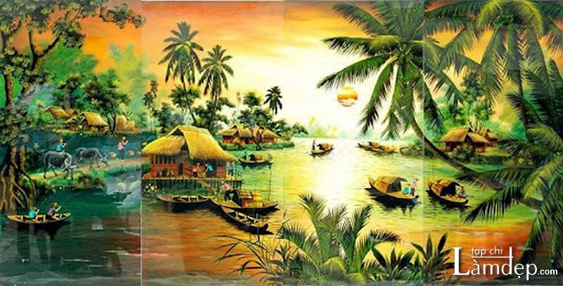 Tranh thêu chữ thập phong cảnh thiên nhiên Việt Nam