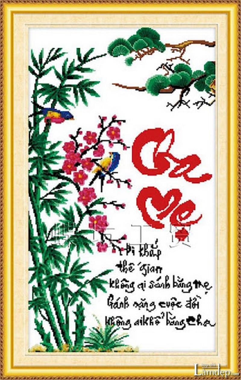 Mẫu tranh thêu chữ thập thư pháp cha mẹ 2